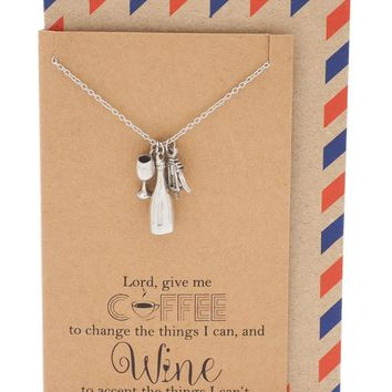 Fonda Coffee and Wine Necklace, Personalized Gifts for Her, Sister Jewelry