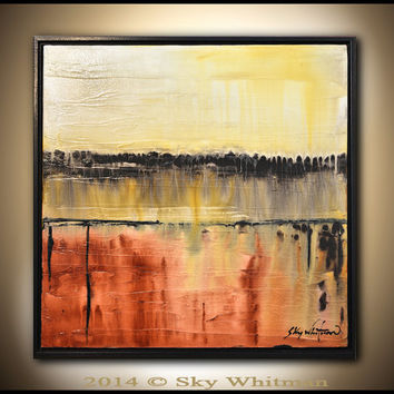 Abstract Painting Original Abstract Art  Square Modern Textured Oil Painting Taupe Burnt Rust High Gloss Contemporary art by Sky Whitman