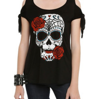 Sugar Skull Rose Cold Shoulder Top