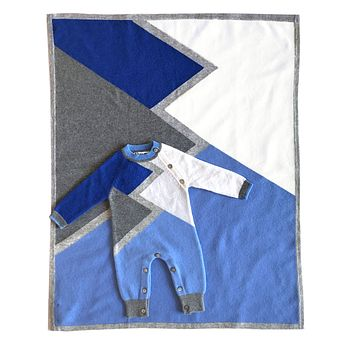 Infant Boy's Color Block Cashmere Romper and Blanket SET in Blue