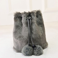 2016 Winter Faux Fur Women Messenger Bags Small Leather Handbags Luxury Designer Women Bag Rabbit Ladies Bucket Crossbody
