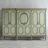 Eloquence One of a Kind Vintage Armoire Crown Sage Crackle