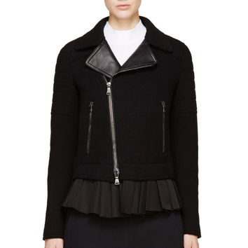 Neil Barrett Black Wool And Leather Frilled Biker Jacket