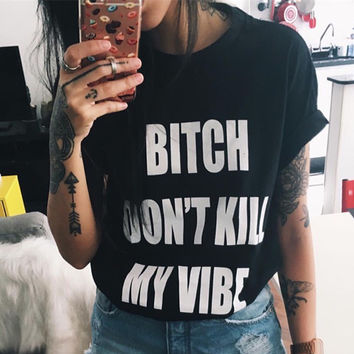 Fashion Simple Casual Letter Print Round Neck Short Sleeve Female Cotton T-shirt