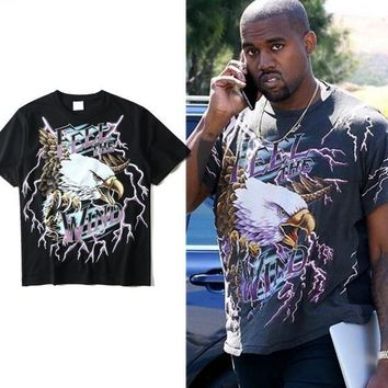 2018ss NEW TOP kanye west FEEL THE WIND rock brand Fashion t shirt hiphop Cool eagle pattern black personality Cotton tee