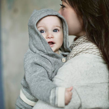 Baby Alpaca Wool Hooded Grey Jacket
