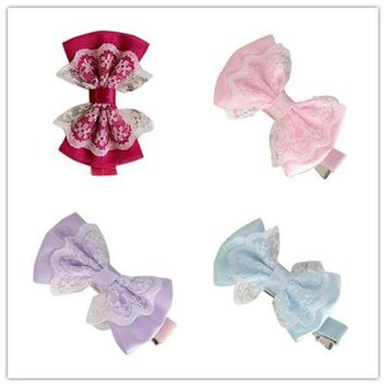 PEAP78W Girl's Hair Clips delicate 2017 girl hair accessories Cute Lace Bowknot Girl Hairpin Child Hair Accessories W80 @