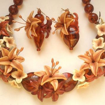 Lily jewellery- Floral necklace-Floral earrings- Brown necklace- Brown earrings