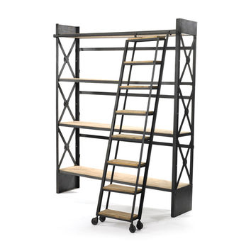 Go Home Loft Bookcase With Ladder - 12686
