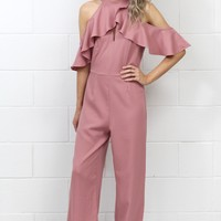 Ruffled Sleeve Cold Shoulder Jumpsuit {Mauve}