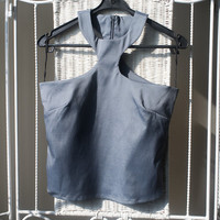 90's Sleeveless silver/ gray metalic halter blouse // cut out Party top