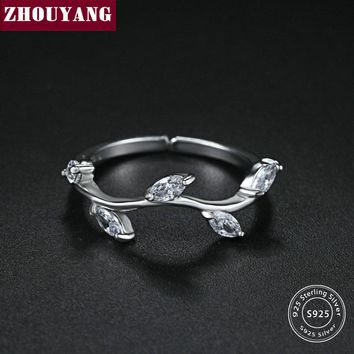 ZHOUYANG Olive Branch Design 925 Sterling Silver Adjustable Ring S925 Fashion Jewelry for Women Girls Gift Anti Allergy RY039