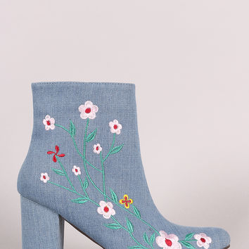 Floral Vines Chunky Heeled Booties | UrbanOG