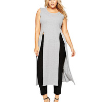 Plus Size Grey Sleeveless Double Slit Tunic Top