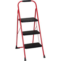 Cosco Red Three Step Big Step Folding Step Stool with Rubber Hand Grip
