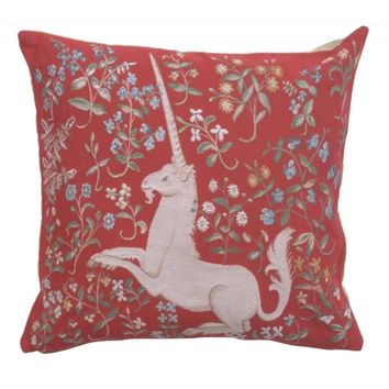 Licorne Fleuri French Cushion