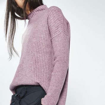 PETITE Oversized Rib Funnel Knitted Jumper | Topshop