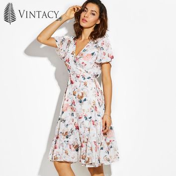 Vintacy Floral Summer Dress Women White Print Lace-Up Wrap Ruffles Tunic A Line Chiffon Dresses Casual Vacation Beach Dress New