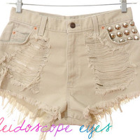 Vintage Levis TRASHED Beige Denim Destroyed STUDDED High Waist Cut Off Shorts L