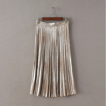 Vintage Metallic color Midi Pleated Skirt  Woman High Waist Gradient Bronzing Golden Sliver A line Skater Long Swing Skirts