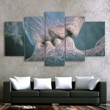 Drop ShippingHD Printed poster 5 piece canvas art abstract love kissing painting decor wall art decoration for living room