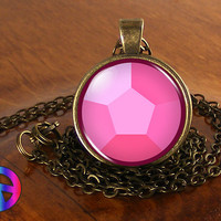 Steven Universe Pink Gem Necklace Cosplay Glass Photo Pendant Jewelry Toy Gift