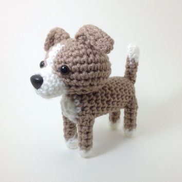 SALE / Amigurumi Italian Greyhound Stuffed Animal Handmade Blue Fawn Crochet Dog / Made to Order