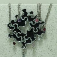 Friendship Puzzle Piece necklaces Set of 6 pendants with Crystals Silver Mirrored Acrylic