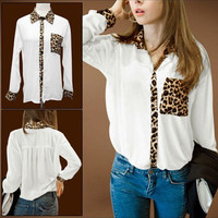 Leopard Print White Long Sleeve Chiffon Blouse Shirt