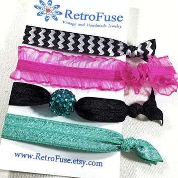 Black and pink hair ties, chevron ponytail holders, elastic hair ties, teal hair tie, creaseless hair tie, no crease hair ties, FOE hair tie