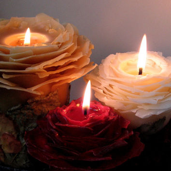 Beeswax Rose Pillar Candle - Christmas Candle, Unique Candle, Gift for Her, Eco Luxury Candle, Holiday Decor, Wedding Gift, Centerpiece