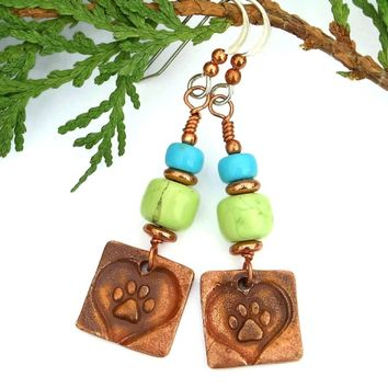 Dog Rescue Artisan Earrings, Magnesite Turquoise Handmade Copper Jewelry