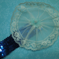 Blue sequin headband with ivory lace flower for children, baby, hair accessories by MarlenesAttic