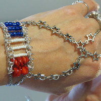 "Flag Star ""Slave Bracelet"" Ring. Proud to be an American, Red, White, Blue, Bracelet Ring. Fits wrists 5 1/2 to 8 inches. Adjustable. Silver"