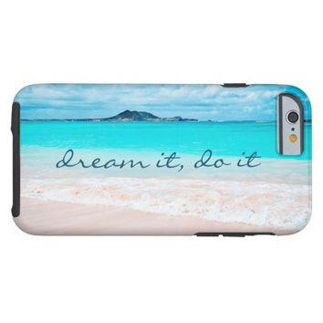 """""""Dream it"""" turquoise beach photo cell phone case"""