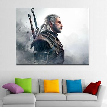 Wall Art Print Canvas Painting The Witcher 3 Wild Hunt Men Geralt of Rivia Wall Decor Of Living Room Poster Print (No Framed)