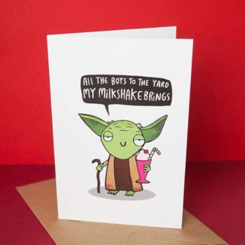 Star Wars Yoda's Milkshake Bring All The Boys To The Yard Funny Happy Birthday Card FREE SHIPPING