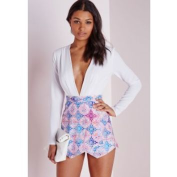 Printed Skort Plunge Playsuit Multi - Playsuits - Skort - Missguided