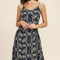 Fern Forest Navy Blue Floral Print Midi Dress