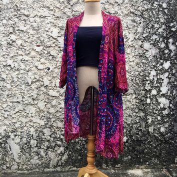 Hippie Kimono Cardigan Tribal Festival Gypsy Bohemian Oversize Boho style Top Beach Cover Up Summer Jacket Vegan Gift for Men women Mandala