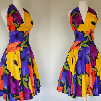 1980's halter sun dress, floral print rayon summer dress, 80's does 50's rockabilly fit and flare dress XL to XXL US 12 to 14