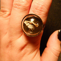 Tiny Turtle Paw Skeleton Foot in Glass Dome Ring by TheCuriositeer