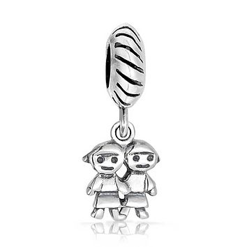 Sisters Family Friends BFF Dangle Charm Bead Sterling Silver Bracelet