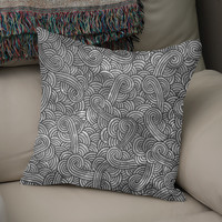 «Grey and black swirls doodle», Numbered Edition Coussin by Savousepate - From 25€ - Curioos