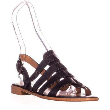 Coach Skyler Flat Gladiator Sandals, Black, 7 US