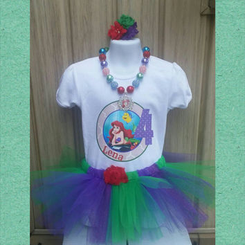 Princess Ariel Birthday Outfit - Little Mermaid - Tutu - Personalized Shirt - Hair Clip - Necklace - Disney Princess Birthday -Under the Sea