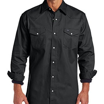 Wrangler Men's Authentic Cowboy Cut Work Western Long-Sleeve Firm Finish Shirt,Black Forest Green,X-Large