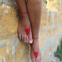 Crochet Barefoot Sandals,  Foot jewelry, Yoga , Bellydance, Steampunk, Beach Pool Party, Anklet, jewelry for the foot, Red
