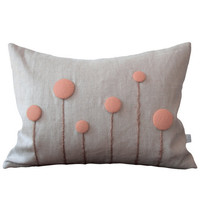 Blush Billy Ball Flower Pillow in Natural Linen by JillianReneDecor Billy Button Botanical Home Decor Rose Smoke