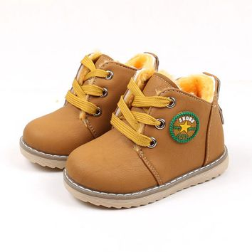 Classic Ankle Boots For Kids Children Shoes Toddler Boys Casual Leather Sneakers Girls Winter Warm Snow Shoes Plush Felt Boots